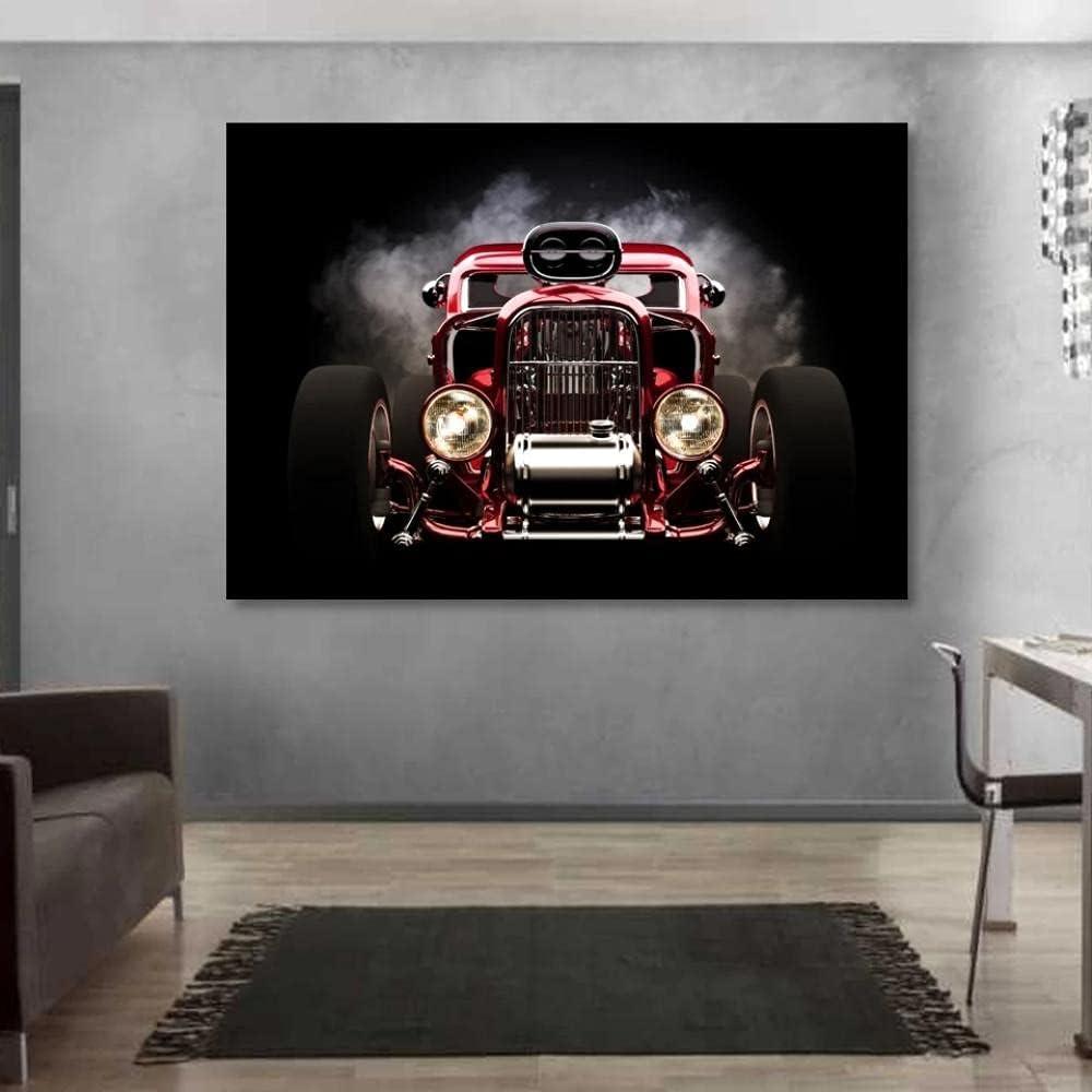 baixiangguo Cuadros Decoracion Salon Hot Rod Rojo Vista Frontal Ruedas Lienzo Murales Pared Hogar Pasillo Decor, Enmarcado, Innovador Regalo-60X90cm