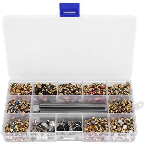 Remaches de diamantes de imitación de latón, 1 caja de remaches de cuentas de color, chaquetas para decoración de apreciación mochilas pulseras de cuero para bricolaje