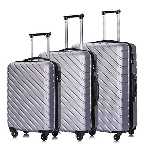 Hardside Luggage Sets Suitcase, 3 Piece Lightweight 4 Wheels Hard Sheel ABS Travel Suitcase 20' 24' 28' in Silver with Free Luggage Protectors and Hangers
