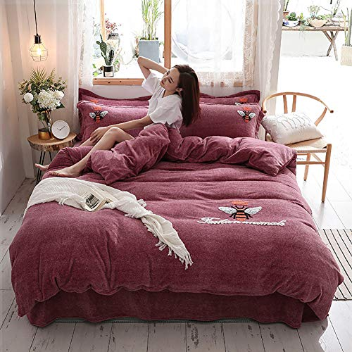 MNBVC Lamb Cashmere Quilt Cover,thickened Milk Velvet Towel Flannel Embroidered Set Of Winter Warm Kit Soft