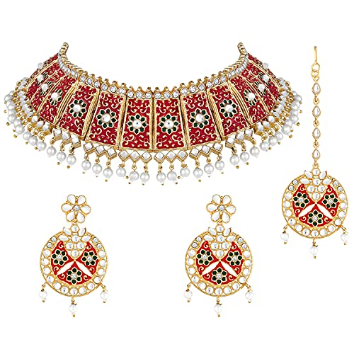 Aheli Kundan Pearl Choker Necklace with Earrings Maang Tikka Indian Traditional Bollywood Fashion Jewelry Set for Women Girls (Red)