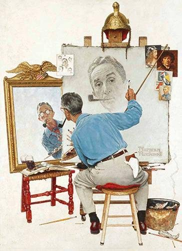 Download Norman Rockwell's Triple Self-Portrait From The Saturday Evening Post Notebook 
