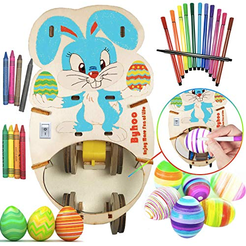 Easter Egg Decorator Kit, Easter Egg Spinner, Bunny Egg Markers - Art Machine with 12 Colorful Quick Drying Markers/8 Colorful Crayons for Adults Kids Boys Girls Children