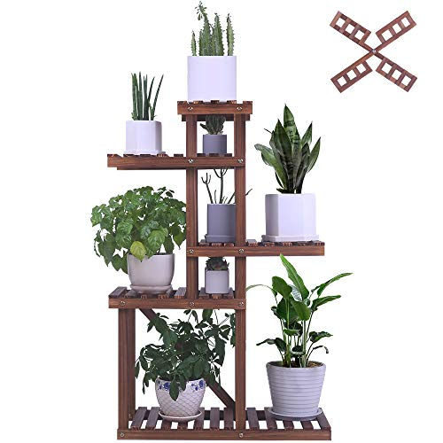 Foldify Pine Wood Plant Stand 5-Tiers 10 Pots Indoor&Outdoor Flower Plant Display Shelf Storage Rack Ladder Stand Rack Unit for Living Room Corner Patio Balcony Garden