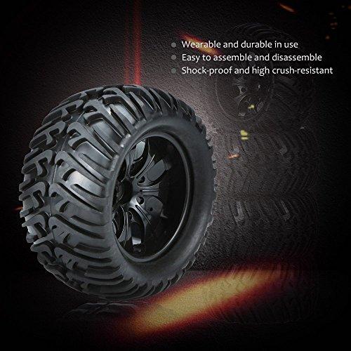 Goolsky 4Pcs Schwarz Felge und Reifen für 1/10 HSP 94111 94188 Monster Truck