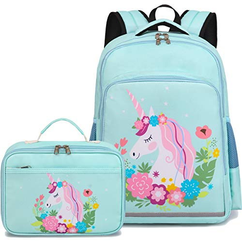 CAMTOP Backpack for Girls School Backpack with Lunch Box Kids Preschool Kindergarten BookBag Set (Y0066-2 Mint Green)