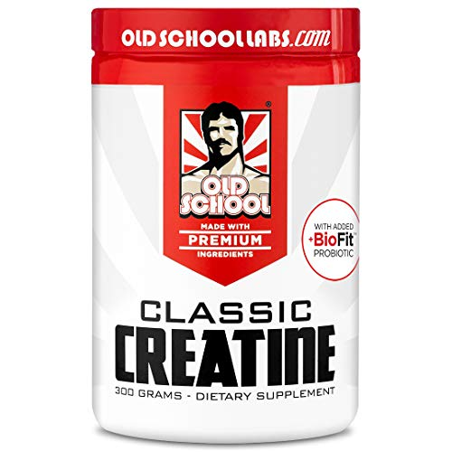 Old School Labs Classic Creatine - Purity-Tested Creatine Monohydrate for Muscle Size, Strength and Stamina - with BioFit Probiotics for Gut Health & Maximum Absorption - No Additives - 300 g Powder