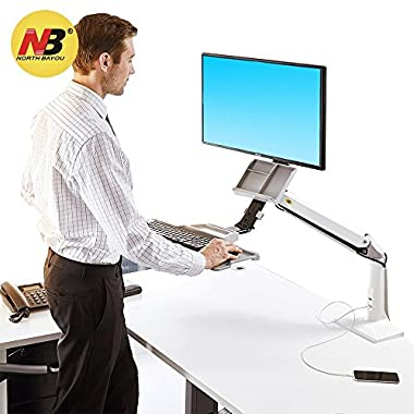 North Bayou Sit Stand Desk Converter Height Adjustable Standing Desk Workstation Arm for 22''-35'' Monitor Computer Monitor Mount with Keyboard Tray White