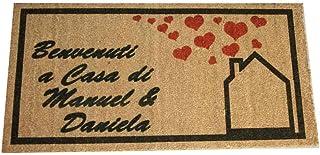 Zerbino Personalizzato da interno - Benvenuti a Casa, Tuo Testo - in cocco naturale cm. 100x50x2 LOVEDOORMAT Marchio Regis...