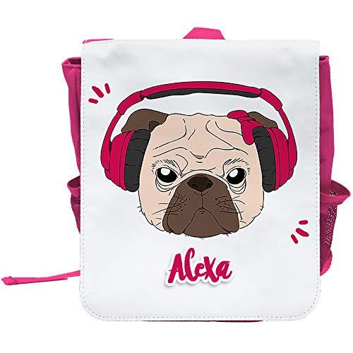 Kinder-Rucksack mit Namen Alexa und schönem Motiv - Mops mit Kopfhörer und Schleife - in Pink für Mädchen   Rucksack   Backpack