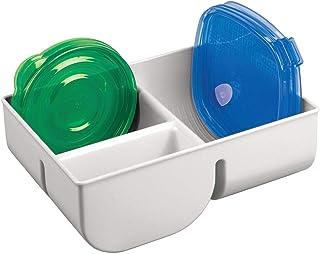 mDesign Panier de Rangement avec 3 Compartiments – boîte de Rangement pour Couvercle en Plastique – casier de Rangement – ...