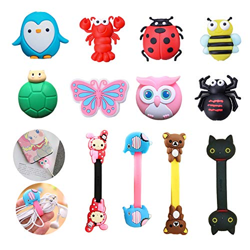 Protector Cable Usb, Cute Animal Charging Cable Protectors Flexible silicona USB Mouse Cable Protector Suit para todos los teléfonos celulares
