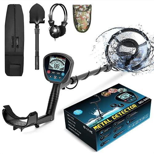 HOOMYA Detector de Metales Profesional con Función de Memoria, Todo Metal/Disc/Notch Modo, 3 Tonos Distinguidos, Pinpoint Preciso, Detector de Oro Liviano para Adultos Niños Principiante-MD840