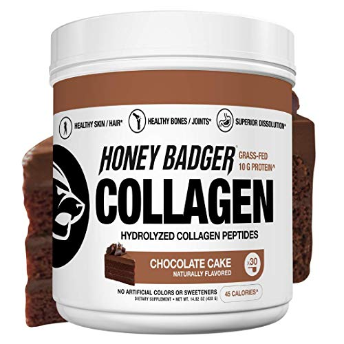 Honey Badger Natural Keto Collagen Peptides Protein Powder | Chocolate Cake | Gluten Free Paleo + Amino Acids BCAA Digestive Enzymes | Hydrolyzed Grass-Fed Protein Supplement Sucralose Free | 30 Pack