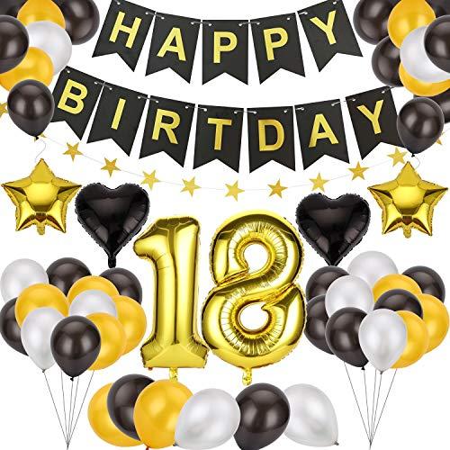 Ulikey Globos Cumpleaños Happy Birthday, 18 Cumpleaños Globos Decoración, Banner de Feliz cumpleaños Globos para Todos los Adultos para Hombres y Mujeres Adultos Decoración de Fiesta (Dorados)