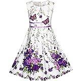 KP15 Girls Dress Purple Flower Party Size 11-12