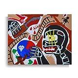 Cuadro acrílico sobre lienzo pintado a mano 30 x 24 arte moderno - título de la obra 'Mundo Cepillada'