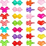 100 Pieces Colorful Plastic Hair Barrettes Self Hinge Barrettes 80s 90s Hair Clips Pins in Butterfly, Heart, Flower and Bow Shape