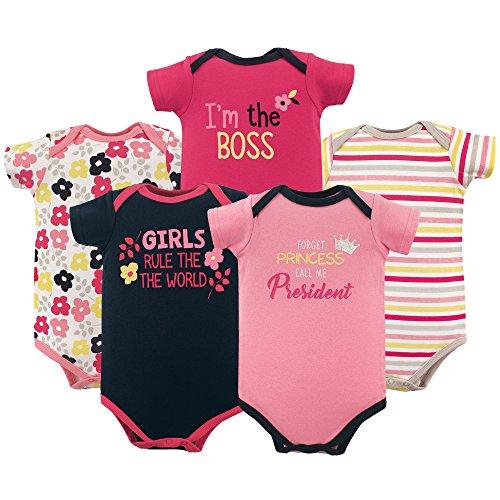 Luvable Friends Baby Infant Basic Bodysuit, 5 Pack, Girl President, 9M(6-9 Months)