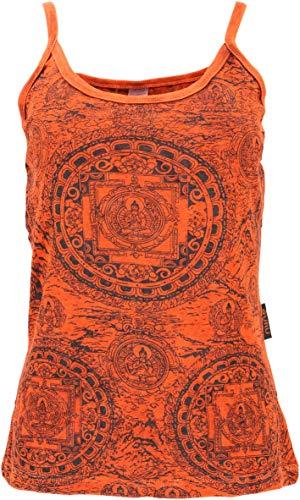 Guru-Shop - Top de yoga con diseño de mandala, estilo boho, para mujer, algodón, tops y camisetas alternativas naranja oxidado Medium-Large