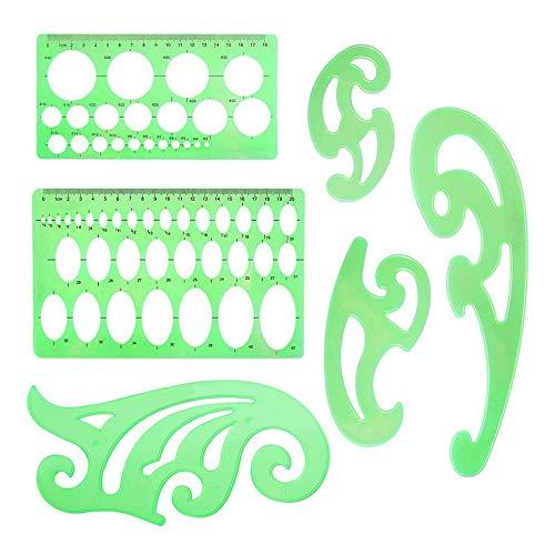 Fltaheroo 6 Piezas de Plantillas de Dibujos, Plantillas de Plantilla de Curva Ovalada Circular, Reglas de PláStico, Herramienta de MedicióN para Oficina, Escuela