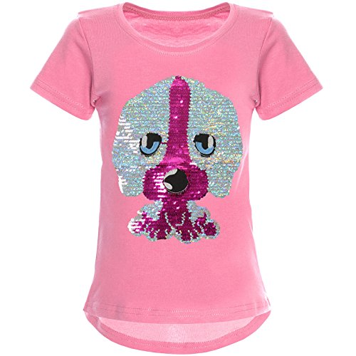 BEZLIT Mädchen Wende-Pailletten T-Shirt Tollen Hund Motiv 22033 Dunkelrosa Größe 164