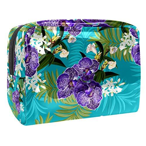 TIZORAX Trousse de maquillage en PVC avec orchidées Violet