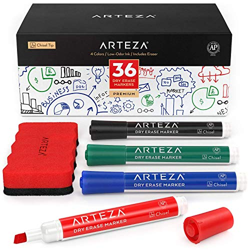 Arteza Dry Erase Markers, Bulk Pack of 36 (Chisel Tip) with Magnetic Eraser, 4 Assorted Colors with Low-Odor Ink…