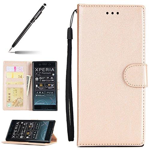 Uposao Kompatibel mit Handyhülle Sony Xperia XZ Premium Handy Schutzhülle Brieftasche Hülle Bookstyle Lederhülle Vintage Flip Hülle Cover Ledertasche mit Kartenfach Standfunktion Magnetverschluss,Gold