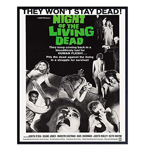 The Night of the Living Dead Poster - 8x10 Vintage Hollywood Horror Movie Poster Wall Art Print - Creepy Scary Movie Home Decor Picture for Man Cave, Boys Bedroom, Teens Room - Gift for Men