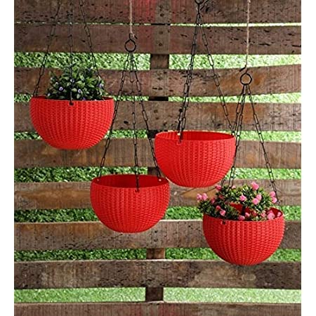 Tex Homz Hanging Baskets Rattan Waven Flower Pot Plant Pot with Hanging Chain for Houseplants Garden Balcony Decoration - 3 Pcs Red Color