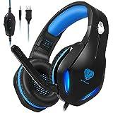 Cuffie da gioco con microfono, cuffie professionali a basso rumore, isolamento dell'orecchio, con un tasto di silenzio, luci a LED per PC Ps5 Ps4 Xbox One (nero-blu)