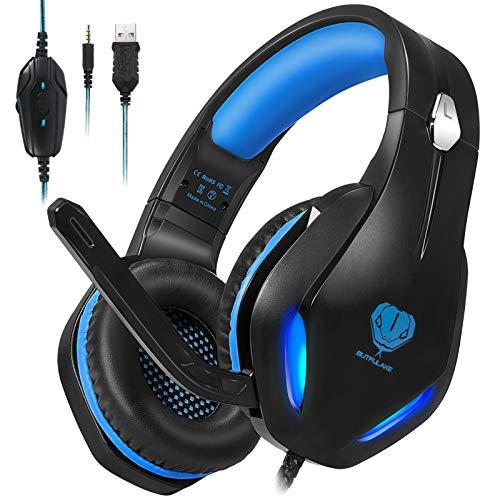 Auriculares para videojuegos con micrófono, auriculares profesionales de bajo ruido aislamiento sobre la oreja, con una tecla de silencio, luz LED para PC PS5, PS4, Xbox One (Negro-Azul)