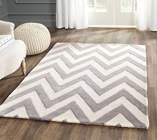 Safavieh Stella Strukturierter Teppich, CAM139, Handgetufteter Wolle, Silber/Elfenbein, 91 X 152 cm