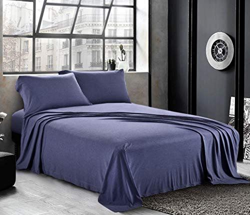 Pure Bedding Jersey Sheets Queen [4-Piece, Dark Blue] Cotton Bed Sheets - Extra Soft Cotton Sheet Set, Cozy T-Shirt All Season Heather Sheets - Deep Pocket Fitted Sheet, Flat Sheet, Pillow Cases
