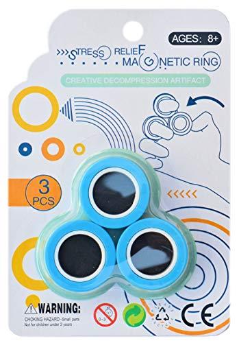 Helmecke & Hoffmann * Finger-Magnetringe Anti-Stress-Fingerringe Magneticringe (blau)