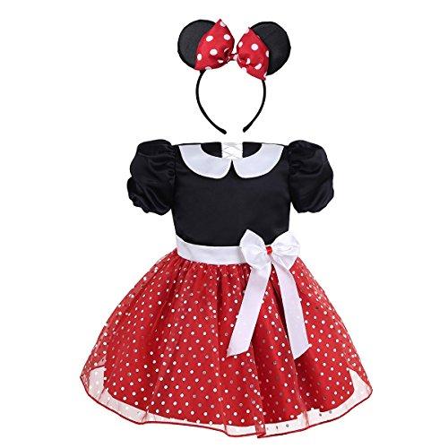 TiaoBug Baby Mädchen Kleidung Set 2tlg. Prinzessin Kostüm mit Ohren Haarreif Polka Dots festlich Party Fasching Karneval Kostüm Gr. 80 86 92 98 104 Rot 98-104