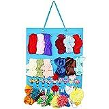 Baby Girl Headbands Storage Holder, Newborn Baby Headbands and Bows Hanging Organizer, Hair Bow Clips,Hair Elastic Ties Display Stand (Blue)