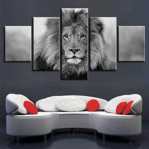 beautygoods Ölgemälde Löwe wandbilder, hängenden Bild, abstrakte malerei, 30x40cmx2 30x60cmx2 30x80cmx1, Leinwand Gemälde, Wohnzimmer Hintergrund Mauer Dekoration
