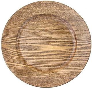 "Koyal Wholesale 424675 Faux Wood Charger Plates, 13"", Walnut"