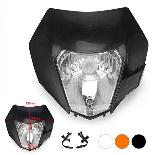 JFG RACING Schwarz Universal S2 12 V 35 Watt Motorrad Halogen Scheinwerfer Kopf Lampe Licht Verkleidung Für Schmutz Pit Bike