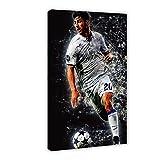 Póster deportivo Marco Asensio de jugador de fútbol Marco Asensio para decoración de pared, impresión de cuadros para sala de estar o dormitorio, 50 x 75 cm, estilo marco 1