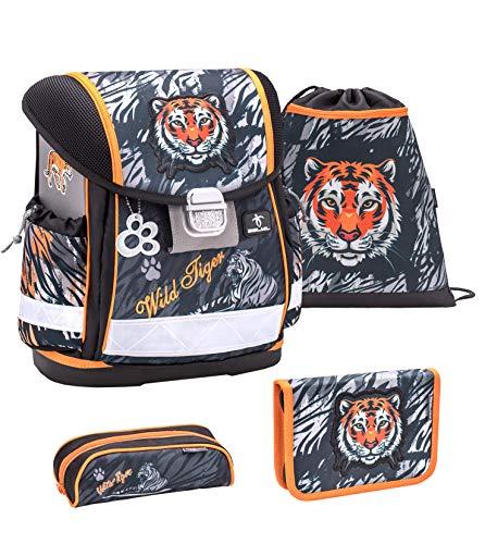 Belmil Schulranzen Set 4 - teilig ergonomischer Schulranzen Jungen 1. klasse 2. klasse 3. klasse - Super Leicht 860-950 g/Grundschule/Tiger/Schwarz, Black (403-13 Wild Tiger)