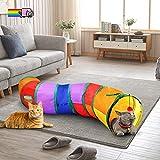 猫トンネル 長い 猫 おもちゃ キャットトンネル 折りたたみ S型 2穴付き 猫遊び ペットおもちゃ キャットトイ ペット用品 ペット玩具 猫おもちゃ (虹)