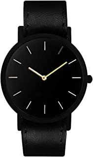South Lane Stainless Steel Swiss-Quartz Watch with Leather Calfskin Strap, Black, 20 (Model: SS20-dr1-4963)