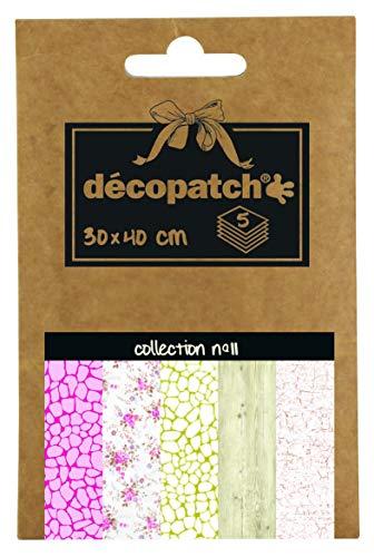 Décopatch DP011O Packung Décopocket mit 5 Papierbogen (30 x 40 cm) (gefaltet, 13 x 9,5 cm, praktisch zum Transportieren und einfach zum Verwenden) 1 Pack farbig sortiert