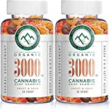 (2-Pack) Organic Hemp Chewy Bears - 3000MG - Active Joint & Muscle Relief, Better Sleep, Sweet & Sour, Infused with Colorado Grown Hemp, Rich in Omega 3-6-9 & Vitamin E, Non-GMO, Vegan