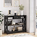 Itaar Narrow Console Table with Drawers and Storage Shelves, 3 Tiered Sofa Table, Entryway Table for Entrance/Hallway/Living Room, Black