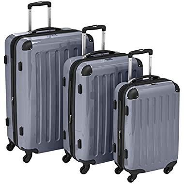HAUPTSTADTKOFFER Luggages Sets Glossy Suitcase Sets Hardside Spinner Trolley Expandable (20', 24' & 28') TSA (Silver)