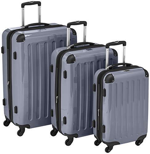 HAUPTSTADTKOFFER - Alex - 3er Koffer-Set Trolley-Set Rollkoffer Reisekoffer Erweiterbar, 4 Rollen, (S, M & L), Silber